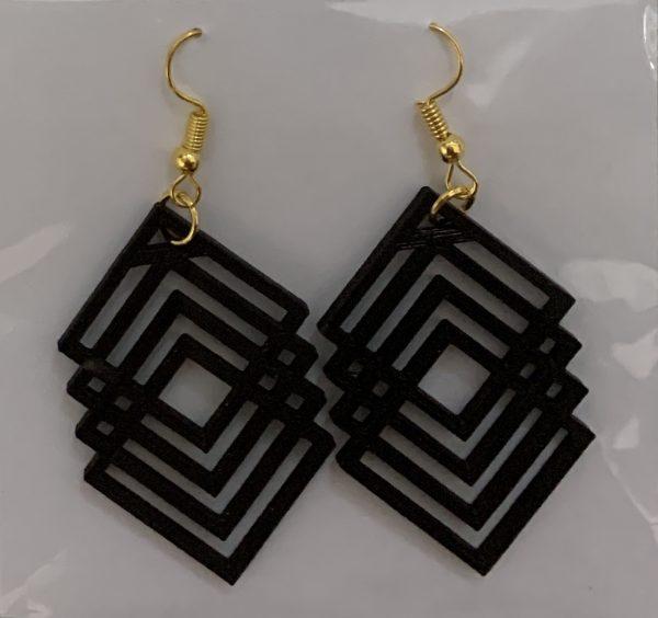 pendientes 3d geometricos negros
