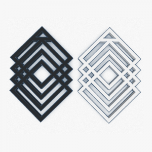 pendientes 3d geometricos blanco y negros cuadros