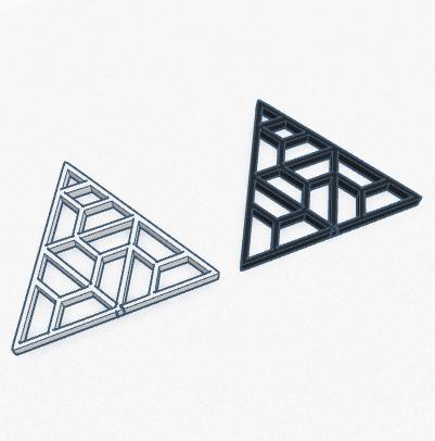 pendientes 3d triangulos blanco y negro