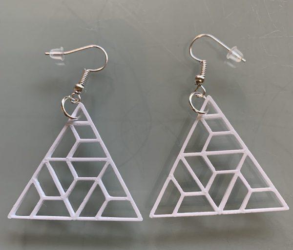 pendientes 3d triangulos blancos